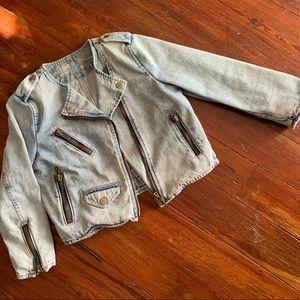GAP cropped denim moto jacket